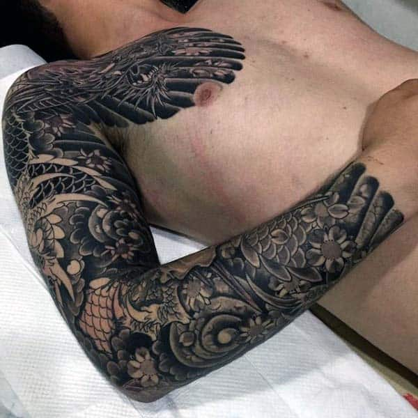 Japanese Dragon Dark Black Ink Mens Full Sleeve Tattoo