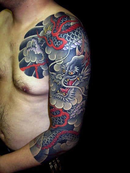 Japanese Dragon Mens Cloud Tattoo Sleeves