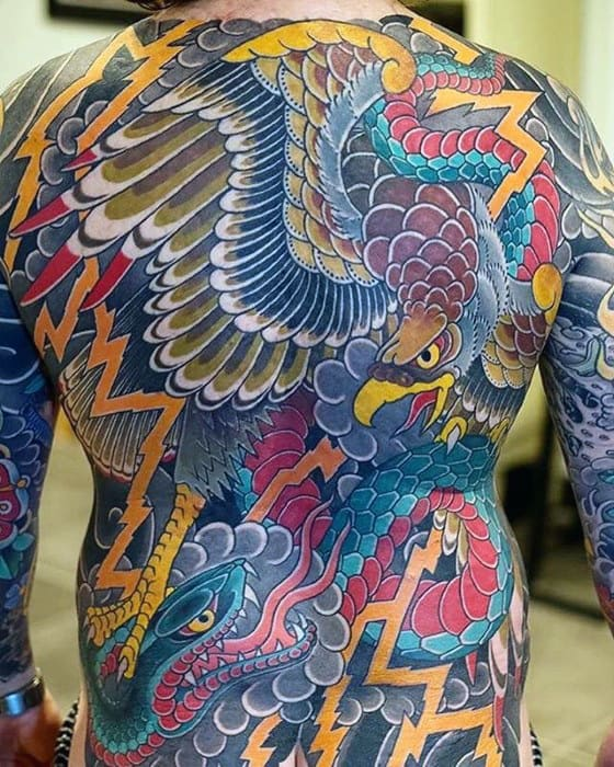 Japanese Eagle Snake Mens Full Back Tattoos