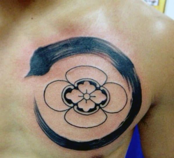 Japanese Family Crest Tattoo For Men On Upper Chest
