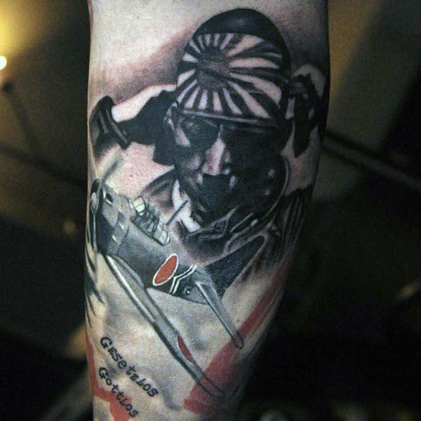 Japanese Fighter Plane Inner Arm Guys Tattoos