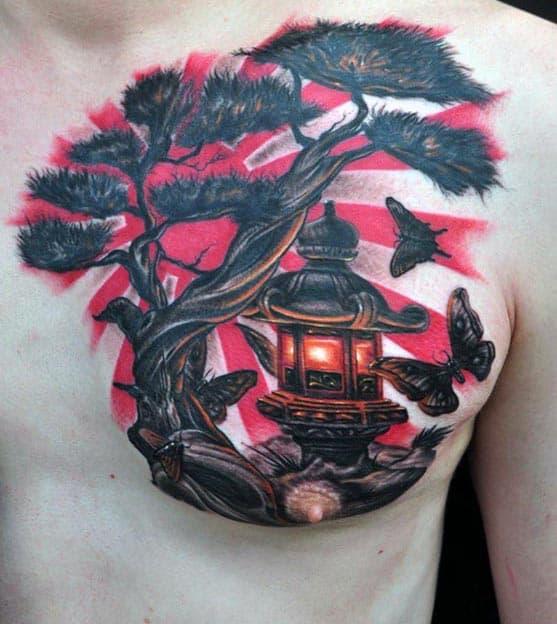 Japanese Flag Bonsai Tree With Lantern Chest Tattoos For Men