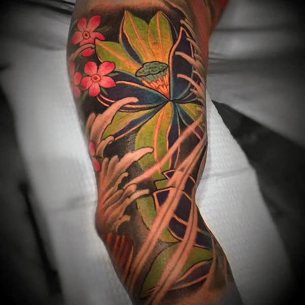 Japanese Floral Inner Arm Tattoos For Male