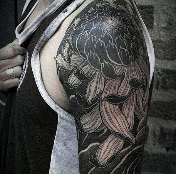 Japanese Flower Black And Grey Ink Guys Great Half Sleeve Tattoo Design Ideas