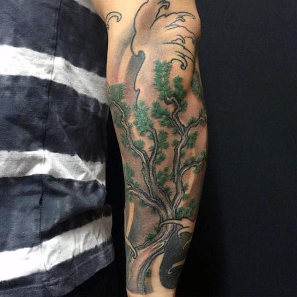 Japanese Forearm Sleeve Bonsai Tree Tattoos On Men