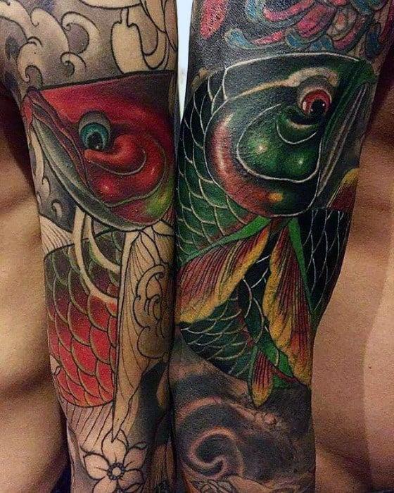 Japanese Full Arm Sleeve Arowana Mens Tattoo Ideas