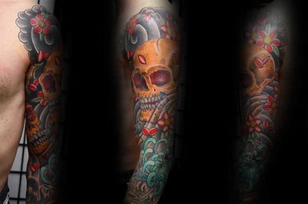 Japanese Gold Skull Sleeve Tattoos For Men