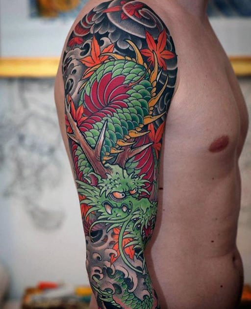 Japanese Green Dragon Arm Sleeve Tattoos For Guys