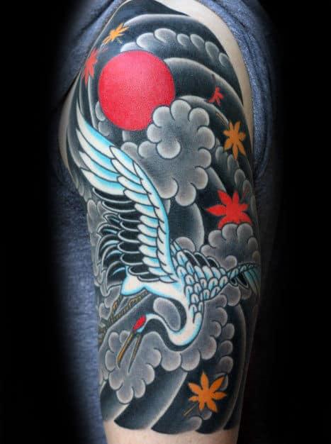 Japanese Guys Crane Bird Flying In Clouds Tattoo Half Sleeve