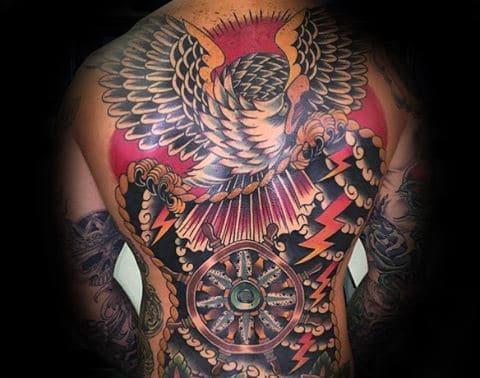 Japanese Guys Eagle Back Tattoo Ideas