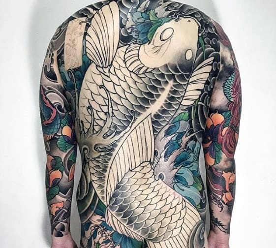 Japanese Koi Fish Splashing In Water Mens Back Tattoo