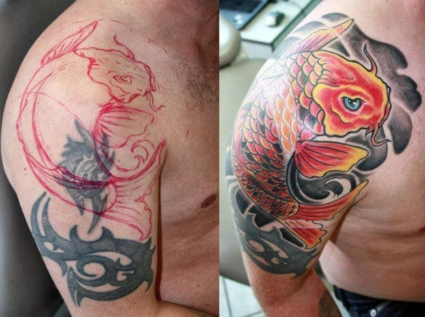 Japanese Koi Fish Tattoo Cover Up Sleeve For Guys