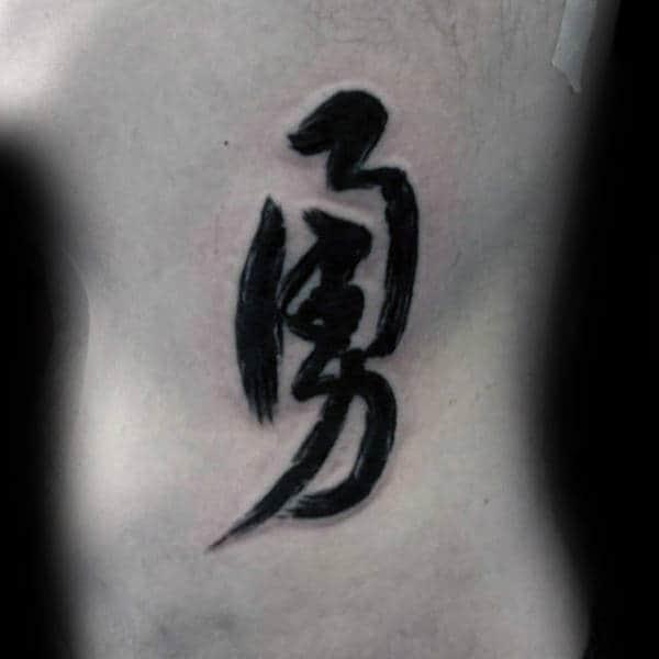 Japanese Lettering Brush Stroke Mens Ribs Tattoos