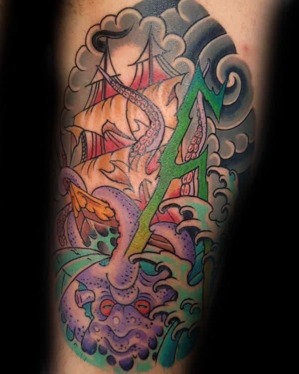 Japanese Lightning Kraken Mens Thigh Tattoos