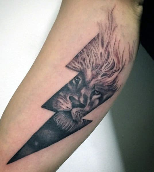 Japanese Lightning Tattoo For Males With Lion
