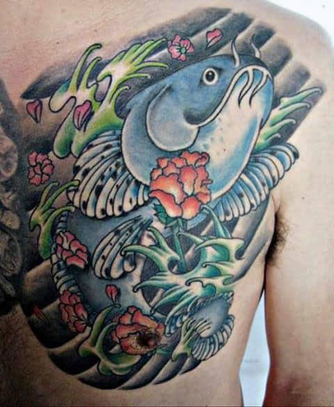 Japanese Male Catfish Upper Chest Tattoo Inspiration
