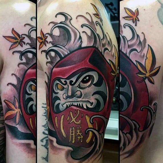 Japanese Male Daruma Doll Tattoo On Arm