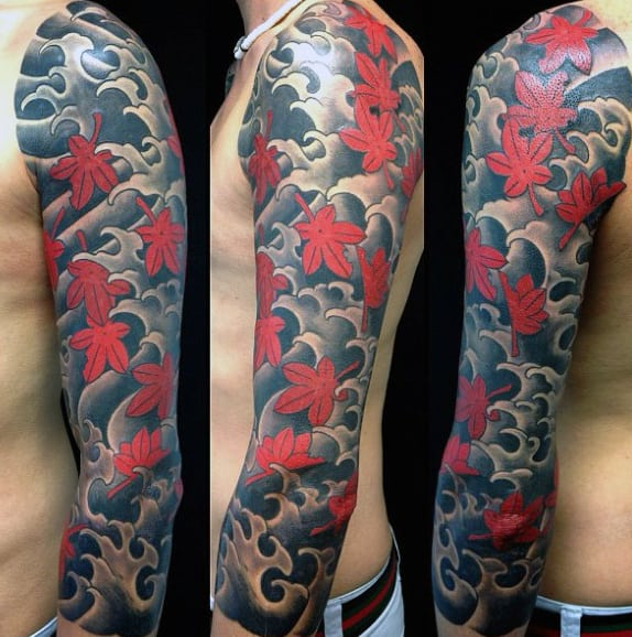 Japanese Maple Leaf Mens Full Sleeve Tattoo Ideas