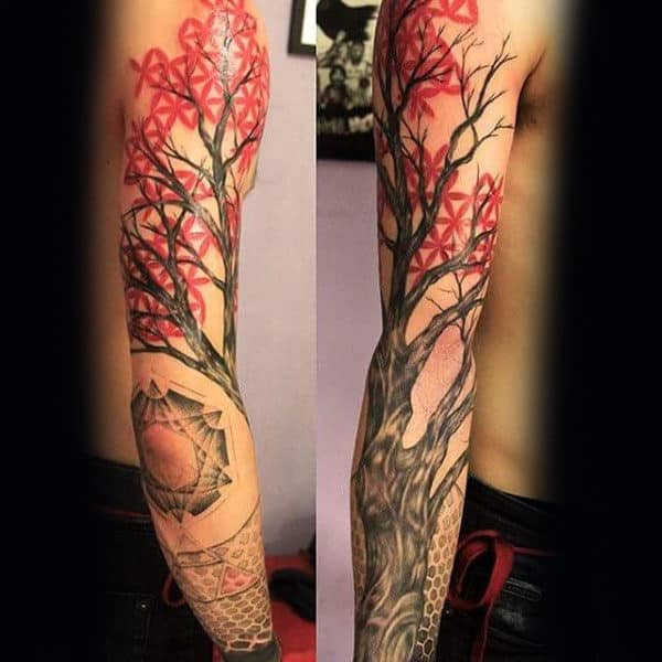 Japanese Maple Tree Sleeve Mens Tattoo Ideas
