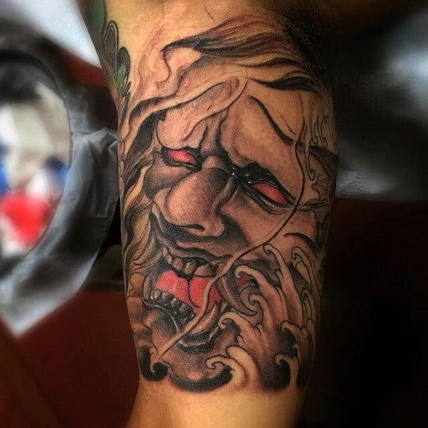 Japanese Mask Inner Arm Male Tattoos