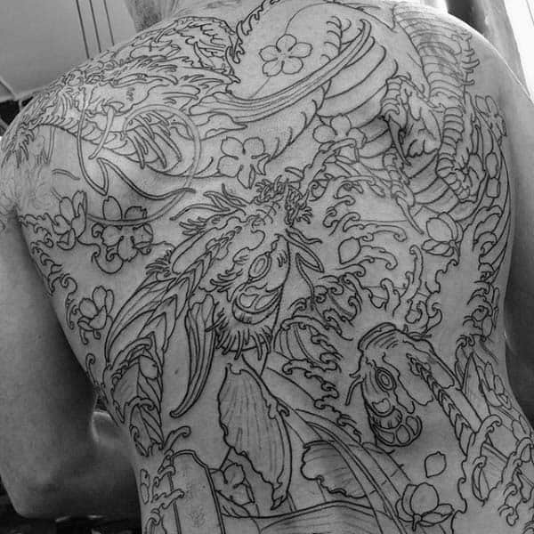 Japanese Mens Black Ink Outlien Back Dragon Tattoo