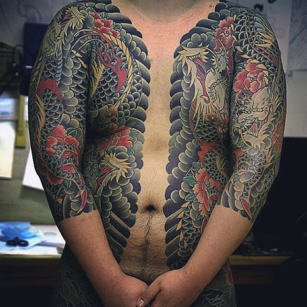 Japanese Mens Dragon Half Chest And Sleeve Tattoos