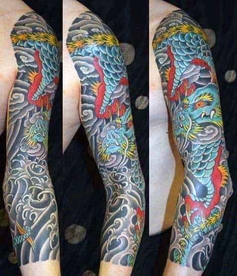 Japanese Mens Full Sleeve Tattoo Of Dragon