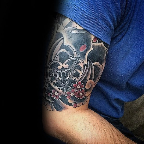 Japanese Mens Heart Lock Half Sleeve Tattoos