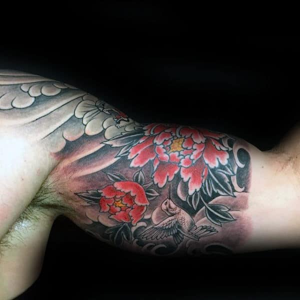 Japanese Mens Hummingbird Half Sleeve Tattoos