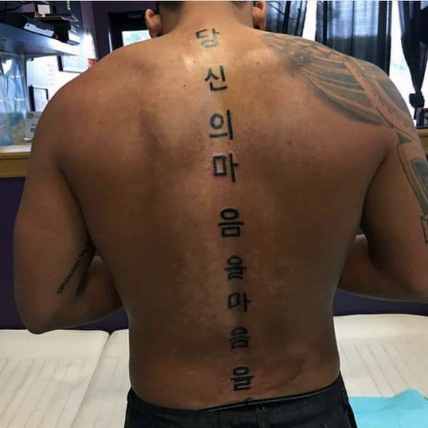 Japanese Mens Spine Tattoo