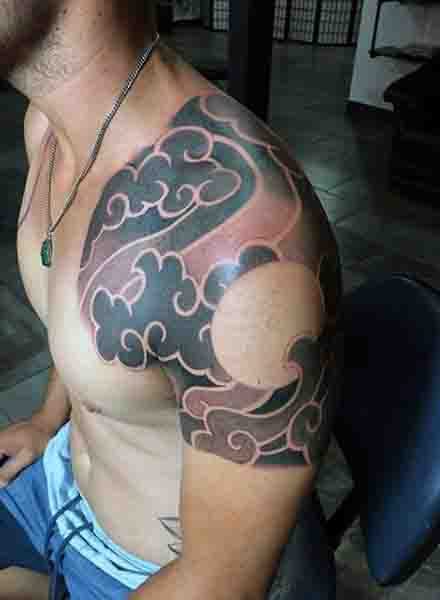 Japanese Moon Tattoos For Men On Shoulder