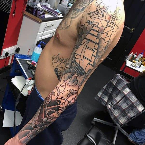 Japanese Nautical Themed Male Full Sleeve Tattoos