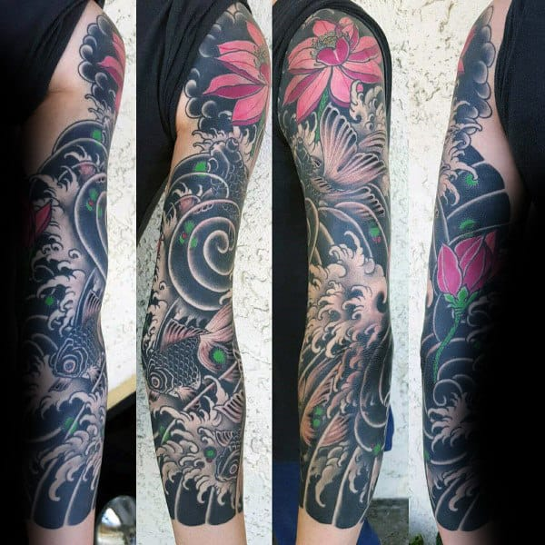 Japanese Ocean Water Waves Lotus Flower Black Ink Sleeve Tattoos