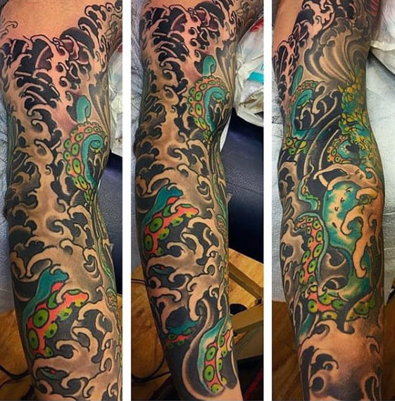 Japanese Ocean Water Waves With Octopus Mens Full Sleeve Tattoos