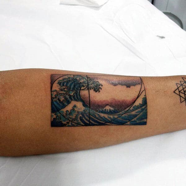 Japanese Ocean Wave Mens Fibonacci Spiral Inner Forearm Tattoo