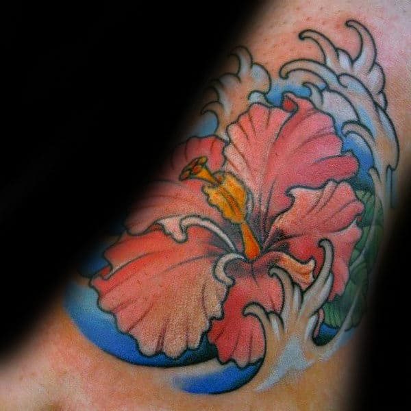 Japanese Ocean Waves Male Hibiscus Flower Foot Tattoos