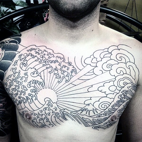 Japanese Ocean Waves Rising Sun Mens Chest Tattoo With Black Ink Outline Design