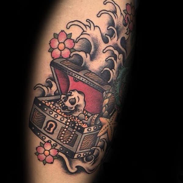 Japanese Ocean Waves Treasure Chest Guys Arm Tattoo