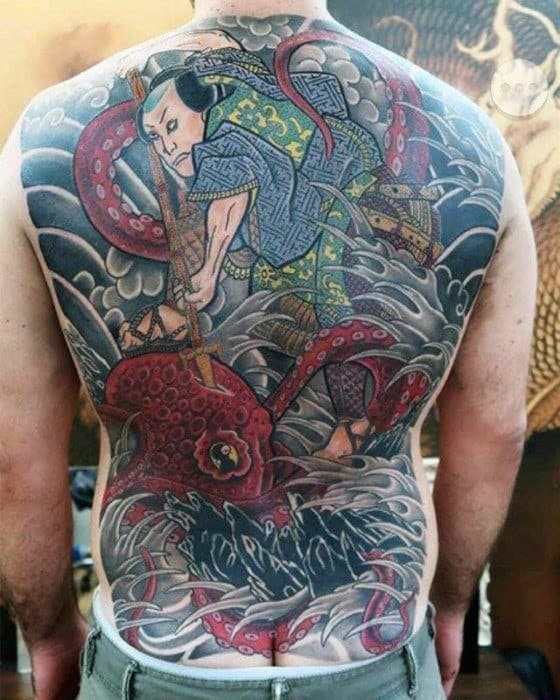 Japanese Octopus Full Back Cover Up Tattoos For Males