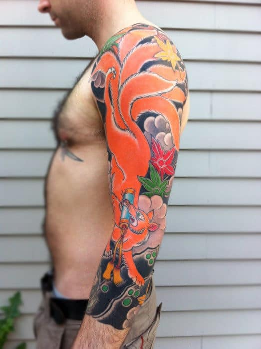 Japanese Orange Fox Tattoo Mens Full Sleeves