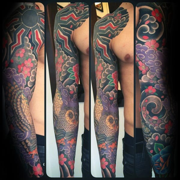 Japanese Owl Full Arm Sleeve Tattoos For Guys
