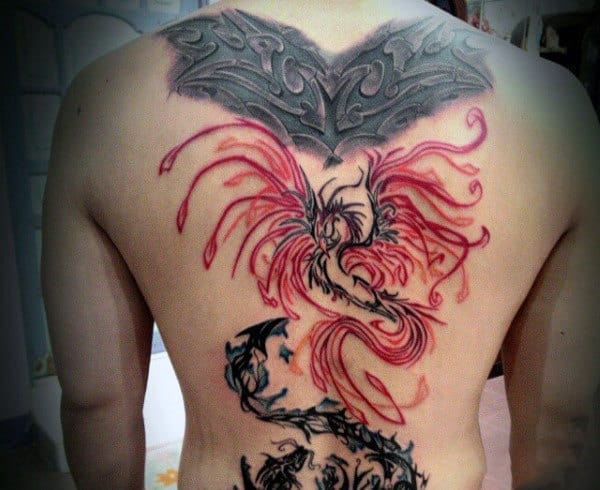 Japanese Phoenix Tattoo For Men On Back