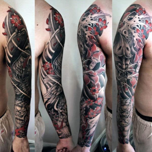 Japanese Protective Lion Mens Foo Dog Full Sleeve Tattoos