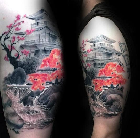 Japanese Red Flower Waterfall Tattoo On Upper Arm
