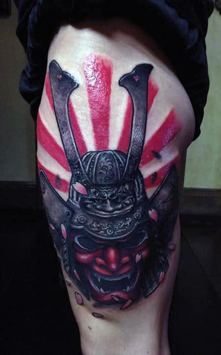 Japanese Red Sun Warrior Samurai Thigh Tattoos For Men