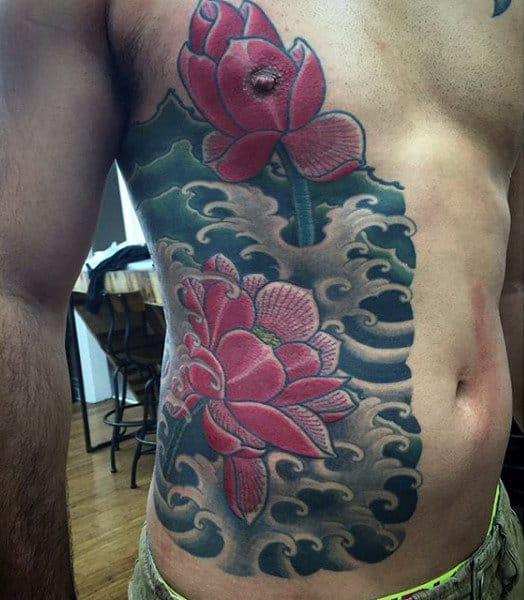 Japanese Rib Cage Flower Amazing Rib Tattoos For Men