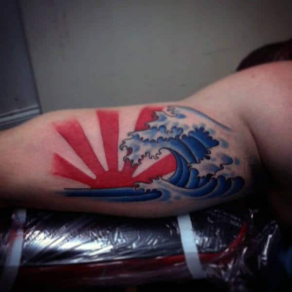 Japanese Rising Sun With Ocean Waves Red Ink Guys Tattoo