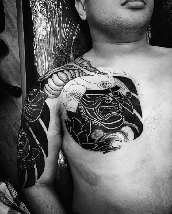 Japanese Samuari Mask Mens Chest Cover Up Tattoos