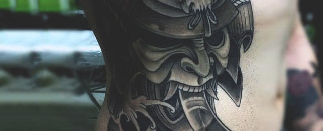 Japanese Samurai Mask Tattoo Designs For Men