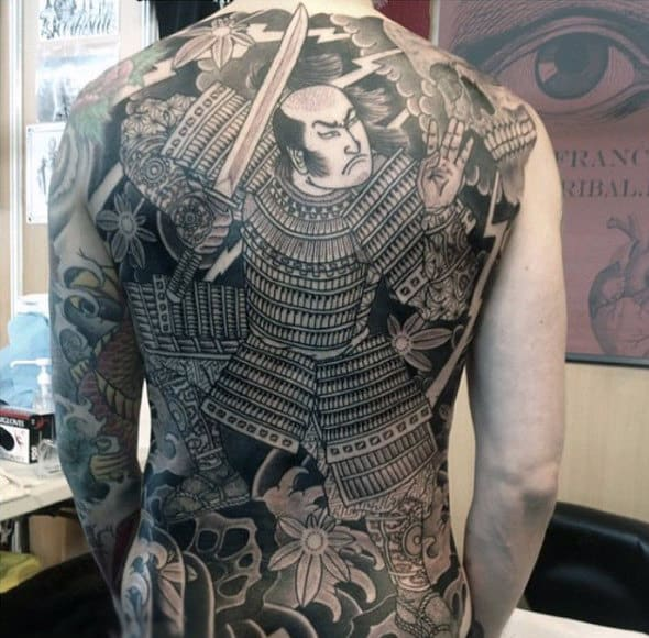 Japanese Samurai Warrior With Specific Detailing On Costume Tattoo Male Full Back